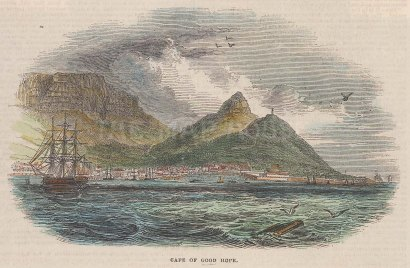"""Illustrated London News: Cape of Good Hope. 1843. A hand coloured original antique wood engraving. 5"""" x 3"""". [AFRp1362]"""