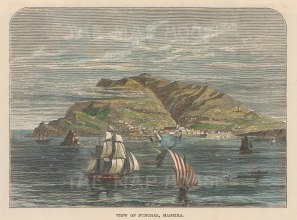 "Brown: Madeira. c1885. A hand coloured original antique wood engraving. 5"" x 3"". [AFRp1363]"