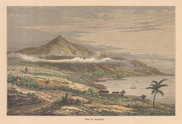 "Reclus: Tenerife, Canary Islands. 1894. A hand coloured original antique wood engraving. 7"" x 5"". [AFRp1367]"