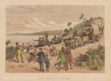 Lake Ngami. Showing the arrival of Dr Livingstone.