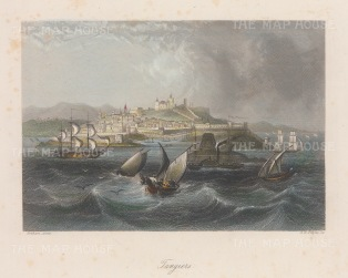 "Kelly: Tangier, Morocco. c1840. A hand coloured original antique steel engraving. 8"" x 6"". [AFRp1370]"