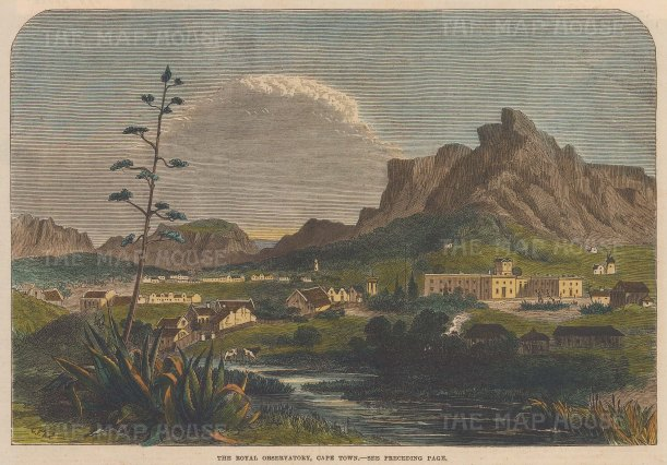 """Illustrated London News: Cape Town. 1865. A hand coloured original antique wood engraving. 10"""" x 7"""". [AFRp1405]"""