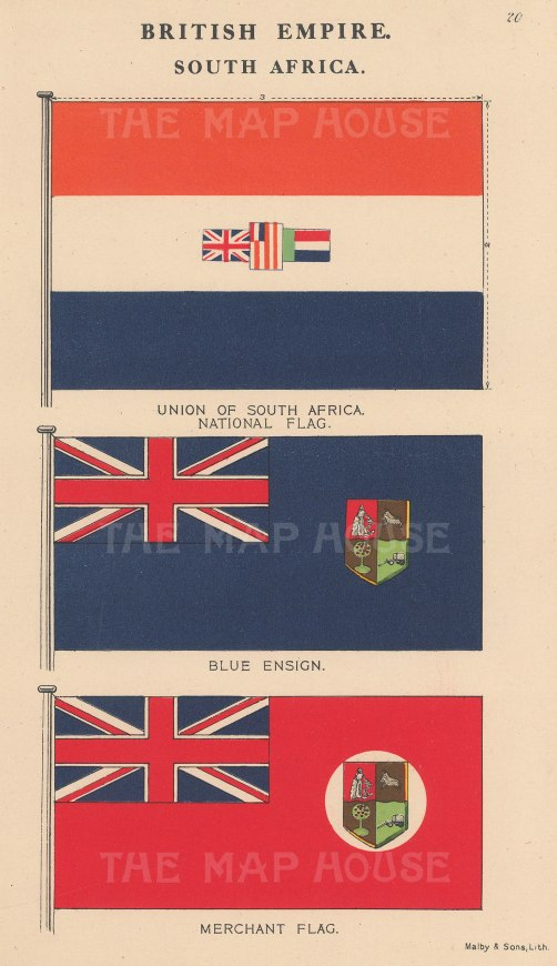 British Empire: South African National Flag, Blue Ensign and Merchant Flag.