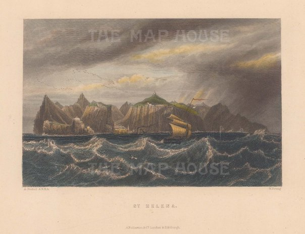 "Fullarton: St Helena. 1856. A hand coloured original antique steel engraving. 7"" x 5"". [AFRp626]"