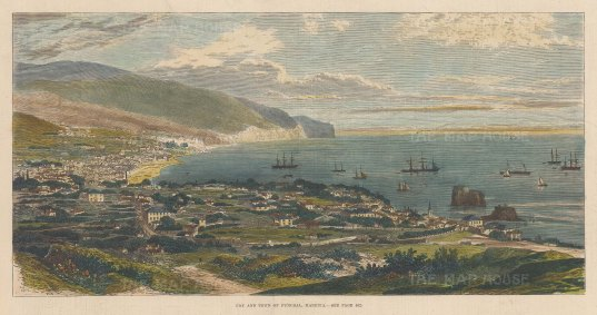 """Illustrated London News: Funchal, Madeira. 1879. A hand coloured original antique wood engraving. 14"""" x 7"""". [AFRp966]"""