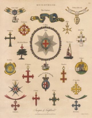 Knighthood: Order of the Garter - collar, star and garter, and the insignia of 16 Noble Orders.