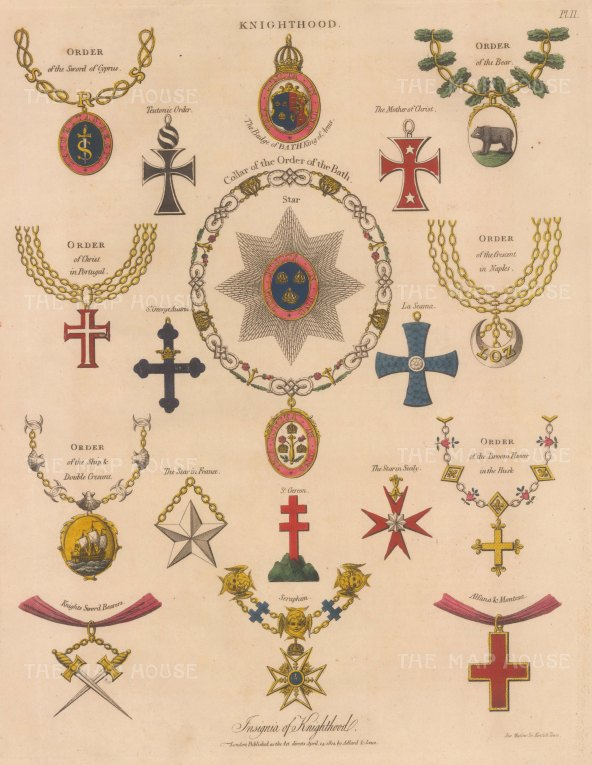 Knighthood: Order of the Bath - collar, star and badges, and the insignia of 16 Noble Orders.