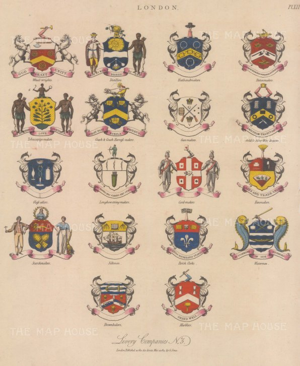 City Livery Arms: 18 coats of Arms of Livery companies including the Gunmakers and Watermen.