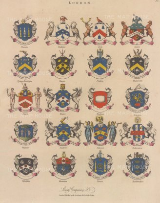 City Livery Arms: 20 arms of Livery companies including the Blacksmiths and Stationers.