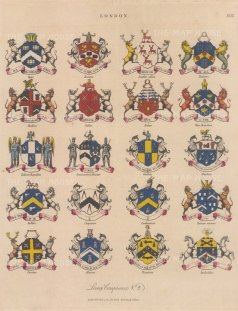 City Livery Arms: 20 arms of Livery companies including the Brewers and Bakers.