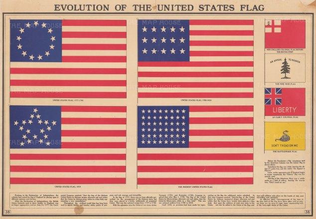 Evolution of the United States Flag. Four states of the flag with four pre-revolution flags