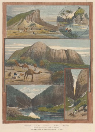 "Illustrated London News: Central Australia. 1890. A hand coloured original antique wood engraving. 10"" x 14"". [AUSp566]"