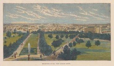 "Brown: Melbourne. c1880. A hand coloured original antique wood engraving. 10"" x 6"". [AUSp598]"