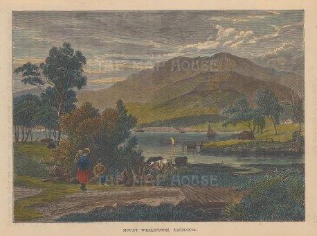 "Brown: Mount Wellington, Tasmania. 1885. A hand coloured original antique wood engraving. 8"" x 6"". [AUSp621]"