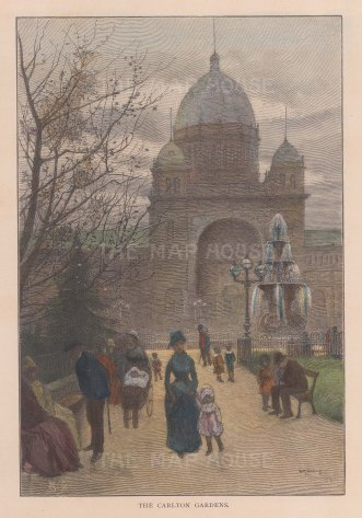 "Picturesque Australia: Carlton Gardens, Melbourne. 1888. A hand coloured original antique wood engraving. 7"" x 10"". [AUSp646]"