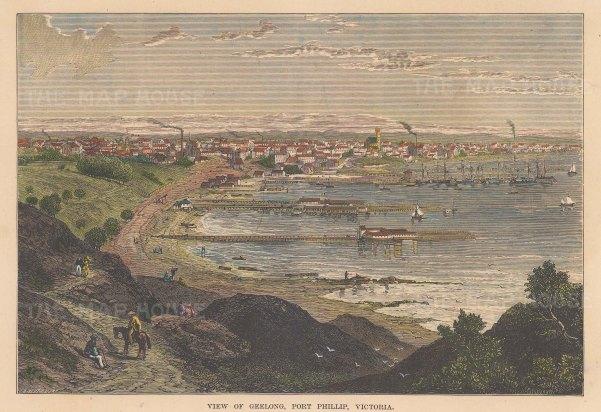 "Brown: Geelong, Post Phillip, Victoria. c1885. A hand coloured original antique wood engraving. 9"" x 7"". [AUSp658]"