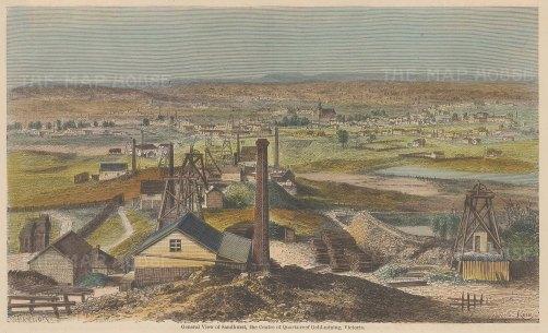 """Taylor: Sandhurst, Victoria. c1885. A hand coloured original antique wood engraving. 9"""" x 6"""". [AUSp670]"""