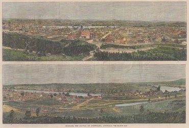 "Illustrated London News: Brisbane. 1866. A hand coloured original antique wood engraving. 14"" x 9"". [AUSp676]"