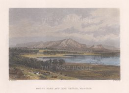 "Booth: Mount Zero & Lake Taylor. c1873. A hand coloured original antique steel engraving. 9"" x 7"". [AUSp689]"
