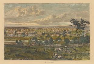 """Collins: Melbourne. c1870. A hand coloured original antique wood engraving. 10"""" x 7"""". [AUSp708]"""