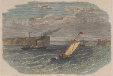 View of the entrance to the harbour with sailboat and steamship.