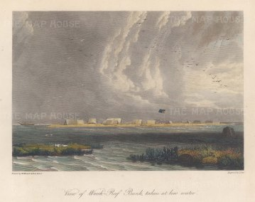 View of the bank at low tide. After William Westall, artist on HMS Investigator.