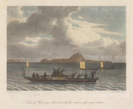 Murray's Island (Mer) with Dauer and Waier to the left and natives coming to barter. After William Westall, artist on the HMS Investigator.