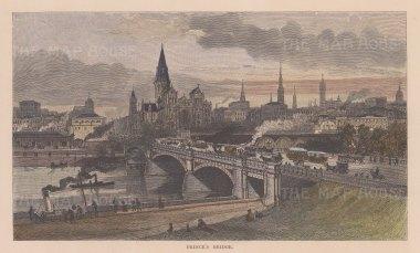 """Picturesque Australia: Prince's Bridge, Melbourne. 1886. A hand coloured original antique wood engraving. 10"""" x 6"""". [AUSp749]"""