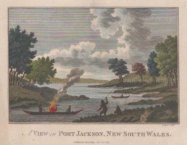 """Hogg: Port Jackson (Sydney). 1794. A hand coloured original antique copper engraving. 7"""" x 5"""". [AUSp752]"""