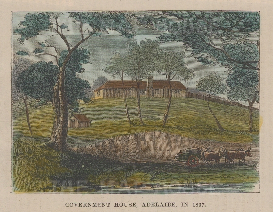 """Illustrated London News: Government House, Adelaide. 1886. A hand coloured original antique wood engraving. 4"""" x 3"""". [AUSp757]"""