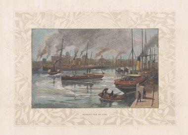 """Picturesque Australia: Melbourne. 1888. A hand coloured original antique wood engraving. 11"""" x 7"""". [AUSp760]"""