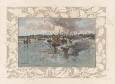 "Picturesque Australia: Sydney. 1888. A hand coloured original antique wood engraving. 11"" x 7"". [AUSp761]"