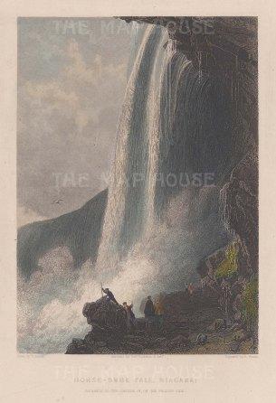 """Sands: Horse-shoe Fall, Niagara. c1840. A hand coloured original antique steel engraving. 6"""" x 8"""". [CANp467]"""