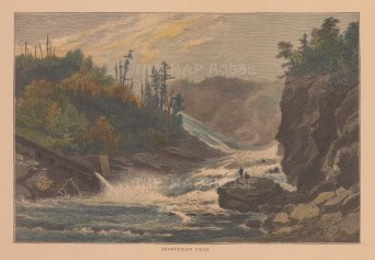 "Picturesque Canada: Shawenegan Falls. 1867. A hand coloured original antique wood engraving. 10"" x 7"". [CANp516]"