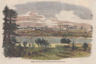 """Illustrated London News: Victoria, Vancouver Island. c1880. A hand coloured original antique wood engraving. 10"""" x 7"""". [CANp534]"""