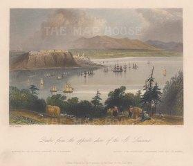 """Bartlett: Quebec. 1840. A hand coloured original antique steel engraving. 8"""" x 7"""". [CANp574]"""