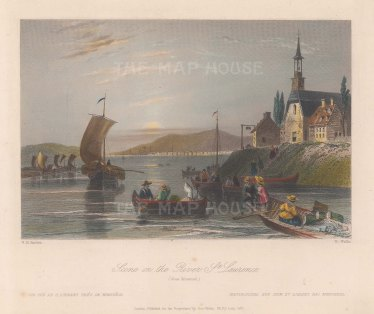 "Bartlett: Montreal. 1840. A hand coloured original antique steel engraving. 8"" x 7"". [CANp575]"