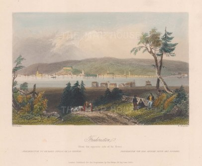 "Bartlett: Fredericton. 1842. A hand coloured original antique steel engraving. 8"" x 7"". [CANp580]"