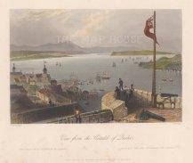 """Bartlett: Quebec. 1840. A hand coloured original antique steel engraving. 8"""" x 7"""". [CANp586]"""