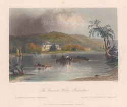 "Bartlett: Fredericton. 1840. A hand coloured original antique steel engraving. 8"" x 7"". [CANp591]"