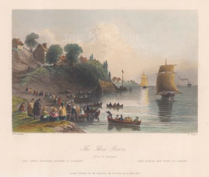 "Bartlett: St. Lawrence River. 1842. A hand coloured original antique steel engraving. 8"" x 7"". [CANp610]"