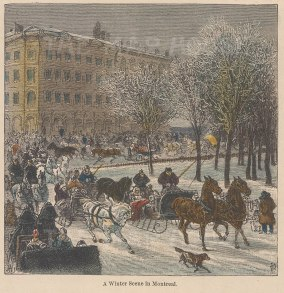 Winter scene in Montreal. Horse-drawn carriages riding through the city.