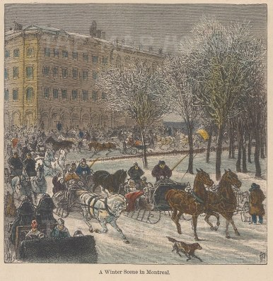 "Garnier: Montreal. 1876. A hand coloured original antique wood engraving. 5"" x 5"". [CANp623]"