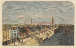 """Illustrated London News: Toronto. 1847. A hand coloured original antique wood engraving. 8"""" x 6"""". [CANp644]"""