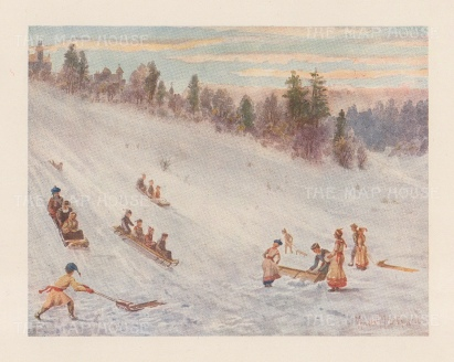 """Mover Martin: Tobogganing in Rosedale. 1907. An original antique chromolithograph. 6"""" x 5"""". [CANp663]"""