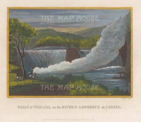 """Craig: Niagara Falls. 1801. A hand coloured original antique copper engraving. 8"""" x 6"""". [CANp670]"""