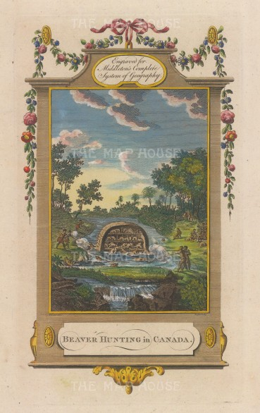 Beavers' lodge with natives hunting. With ornate border and garlands.