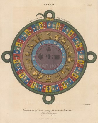 """SOLD An early depiction of an Aztec calendar. The year is divided into 18 months of 20 days each. The Aztec """"century"""", or 'Calendar Round' is made up of 52 years."""