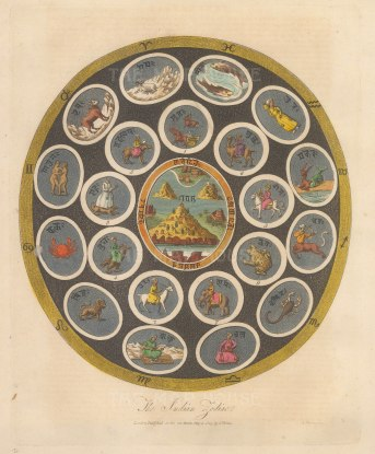 An early-19th century depiction of the Zodiac as represented in Hindu astrology.