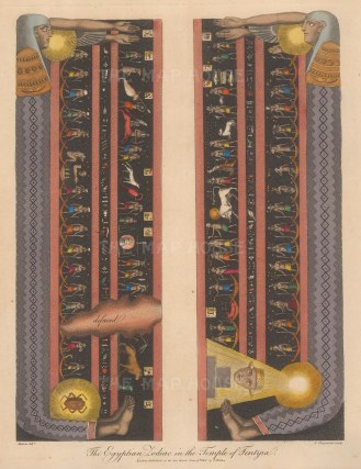 """An early-19th century depiction of the Ancient Egyptian Zodiac from the ceiling of the Temple of Dendera. Characterized as """"the only complete map that we have of an ancient sky""""."""